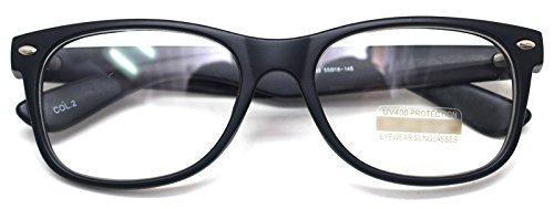 Classic Horn Rim Nerd Square Eyeglasses Spectacles Geek Clear Lens Rectangle Glasses (Black2132, - Fashion Mens Spectacles