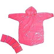 HUABEI 5 Pack Disposable Rain Poncho Kids Children Rain Coat with Drawstring Hood & Sl