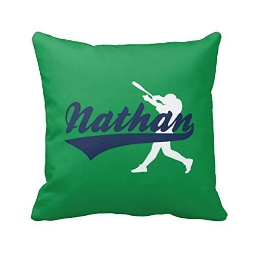 Baseball Throw Pillow Cover, Personalized, Custom, Boy's Name, Navy, Navy, White, ANY COLOR, NAME 16x16, - Names Part Sunglass