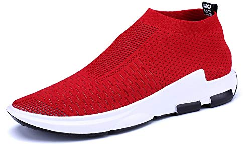 JIYE Men's Running Shoes Sock-Like Free Transform Flyknit Sport Fashion Sneakers, Red,11US-Men
