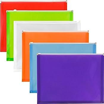 "JAM Paper Plastic Envelopes with Zipper Closure - Letter - 9 3/4"" x 13"" - 6/pack"