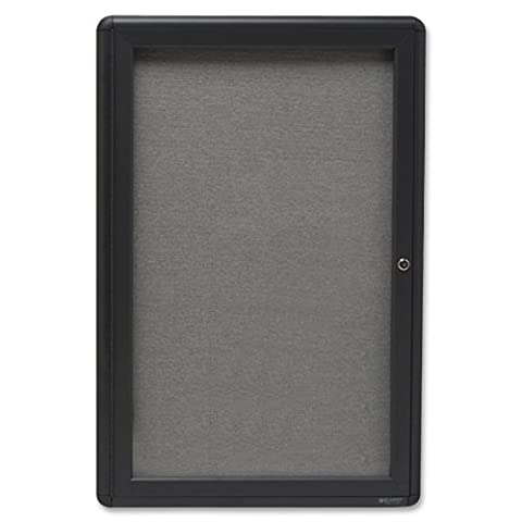 Quartet Enclosed Fabric Bulletin Board, 2 x 3 Feet, 1 Door, Black Frame with Gray Fabric (2363L) - Enclosed Cork Board