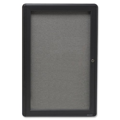 Quartet Enclosed Fabric Bulletin Board, 2 x 3 Feet, 1 Door, Black Frame with Gray Fabric (2363L) by Quartet