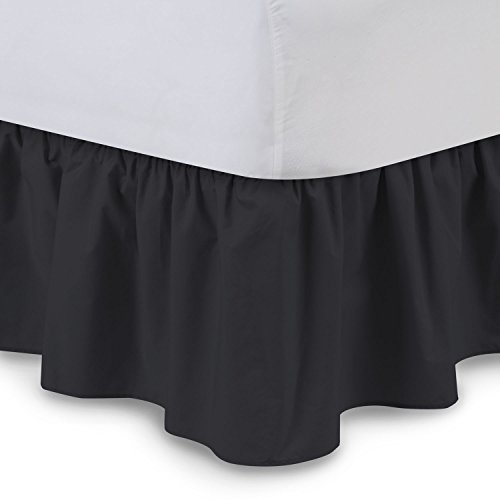 Ruffled Bed Skirt (Queen, Black) 21 Inch Drop Bedskirt with Platform, Wrinkle and Fade Resistant - by Harmony Lane (Available in All Bed Sizes and 16 Colors)
