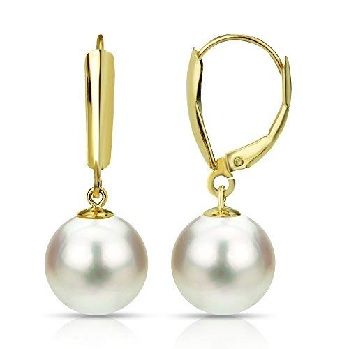 (Cultured Freshwater White Pearl Earrings 14K Yellow Gold Leverback Graduation Gift)