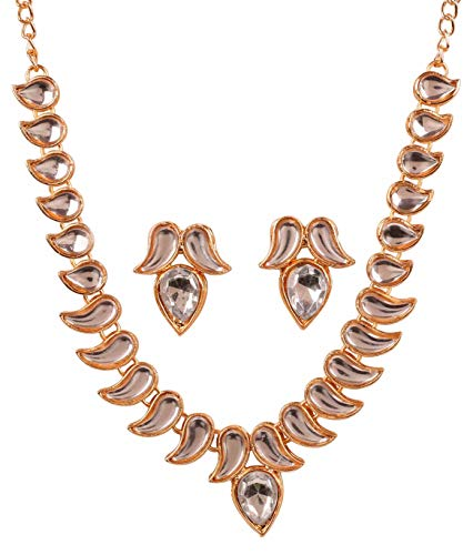 Touchstone New Contemporary Kundan Collection Indian Bollywood Mughal Kundan Look Paisley Designer Jewelry Necklace Set in Gold Tone for Women ()