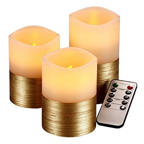(qinxiang Flameless Candles Flickering LED Candles Set of 3 (D:3