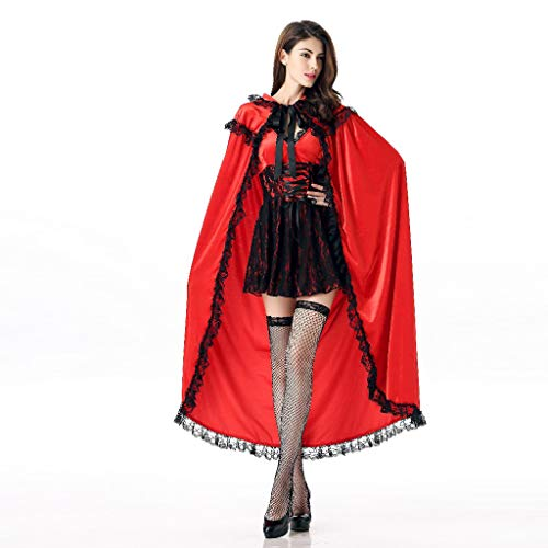 Adult Red Riding Hood Costume Gothic Mini Dress with Hooded Cape Cloak Lace Trim Halloween Masquerade Cosplay Party Stage Dress up Accessories (Diy Little Red Riding Hood Costume For Adults)