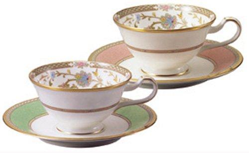 Noritake bone china tea and coffee Yoshino bowl dish pair set green pink Y6988/998307 (japan import) by Noritake