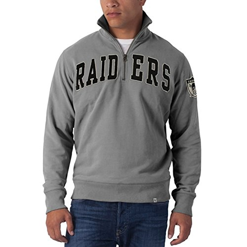 (Medium, Wolf Grey) - NFL Oakland Raiders Men's Striker 1/4 Zip Jacket