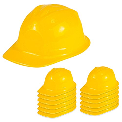 [Dress Up Hats - Construction Hat - 12 Soft Plastic Hats by Funny Party Hats] (Girl Construction Worker Costumes)