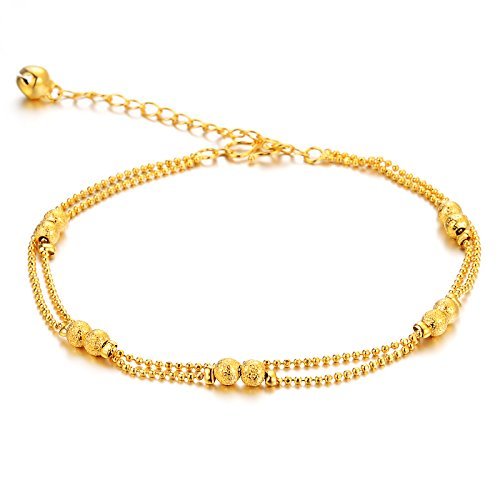 Women's Anklet Bracelet 18k Gold Plated Double Row Beads Grind Arenaceous Bead Pendants Foot Chain Adjustable (10k Gold Tennis Bracelet)