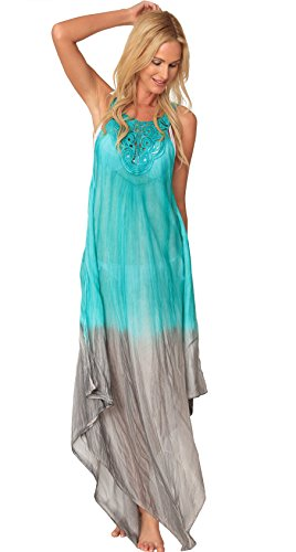 INGEAR Crochet Dress Maxi Handkerchief Long Tie Dye Beachwear Summer Cover Up (One Size, Green)
