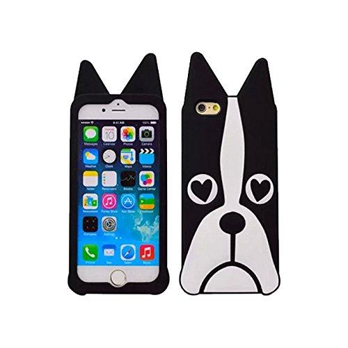 handy-point 3D Hund Gummihülle Silikonhülle Hülle aus Silikon Gummi Schutzhülle Schale für iPhone 5 5S SE, Schwarz Weiß