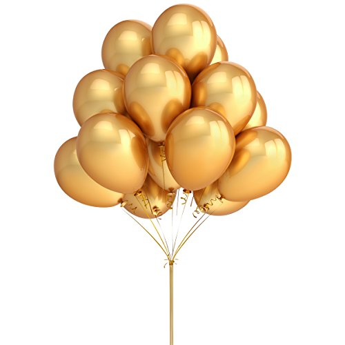 LeeSky 100 Pack 12 Inches Gold Color Latex Balloons Party Decoration Accessories & Party Favors