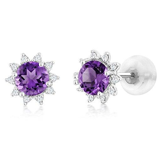 18K White Gold Diamond Stud Earrings Round 4mm Purple Amethyst Gemstone Birthstone 0.48 (4mm Round Genuine Birthstone Earrings)