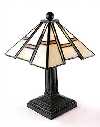 mission arts and crafts tiffany style stained glass mini accent lamp