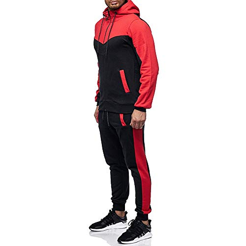 Tracksuits, 2018Mens Winter Athletic Zipper Hoodie Jacket Coat/Sweatpants Sports Gym Sportswear (Red, 3XL)