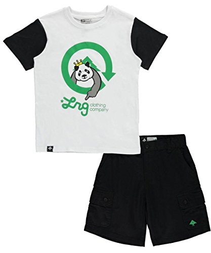 dler Panda Point 2-Piece Outfit - White, 2t (Lrg T-shirt Shorts)