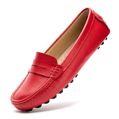 - Artisure Women's Girls' Classic Handsewn Red Genuine Leather Penny Loafers Driving Moccasins Casual Boat Shoes Slip On Fashion Office Comfort Flats 8.5 M US SKS-1221HON085