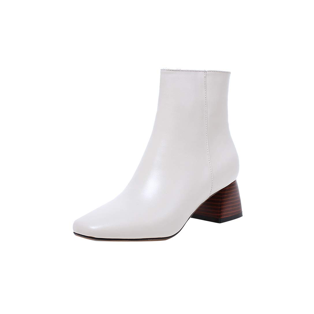 White MAYPIE Womens Toappla Leather Zipper Ankle Boots