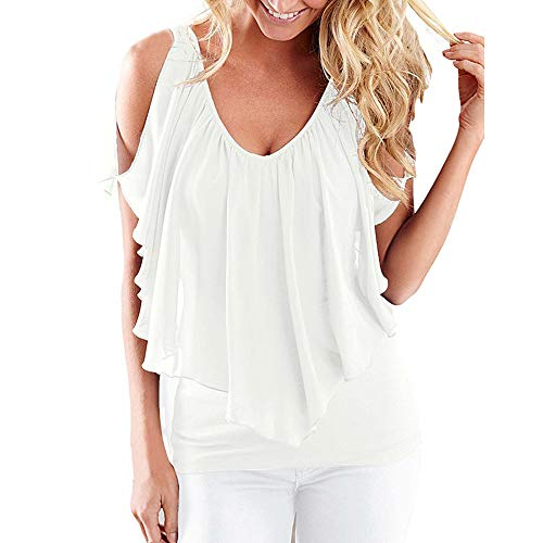 Women Summer Casual Blouse Top,Off Shoulder Low Chest Camis Vest Irregular Ruffled Pleated Tee Shirt -