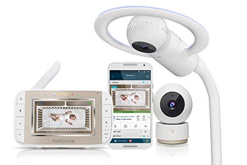 Motorola Halo+ Over-the-Crib Wifi videomonitor met 4,3-inch handheld-ouderapparaat en draadloze hubble-app voor…