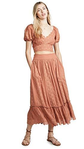 Free People Women's Ella Shirt & Skirt Set, Rose Petal, Pink, Large