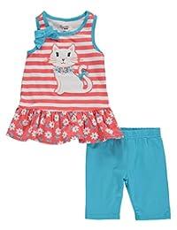 """Nannette Little Girls' """"Stripe & Kitten"""" 2-Piece Outfit"""
