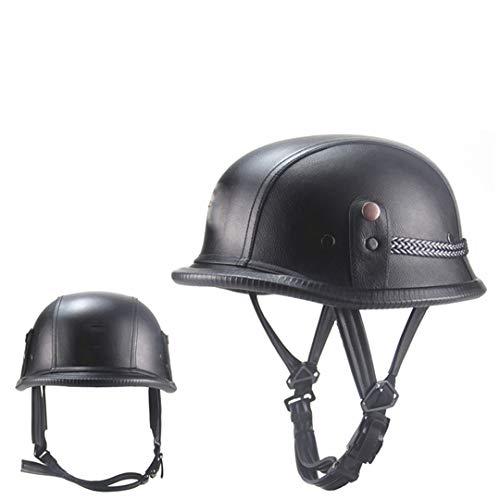 (Adult Vintage Half Open Face Leather Helmet Moto Motorbike Motorcycle Helmets Black Brown 2406 Black L)