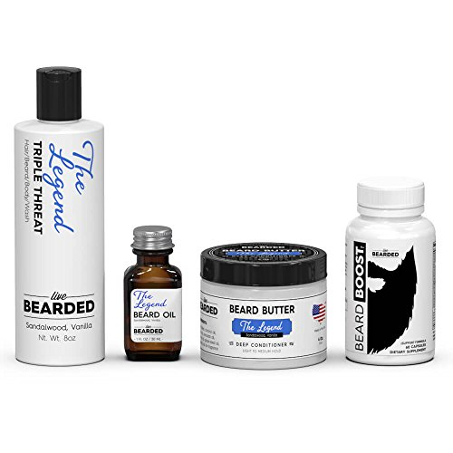 Cheap Sandalwood Beard Growth Kit | Live Bearded Made in USA | Legend Sandalwood with a touch of Vanilla Beard Bundle