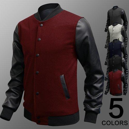 Felpa Minetom Pelle Pu Cuciture Giubbotto College Vino Uomo Baseball Rosso Moda Jacket In YqU1rYn