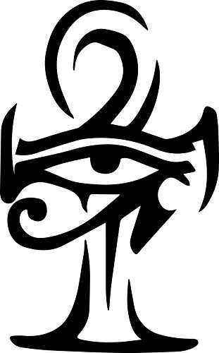 ANGDEST Egyptian Eye Ankh Symbol (Black) (Set of 2) Premium Waterproof Vinyl Decal Stickers for Laptop Phone Accessory Helmet Car Window Bumper Mug Tuber Cup Door Wall Decoration