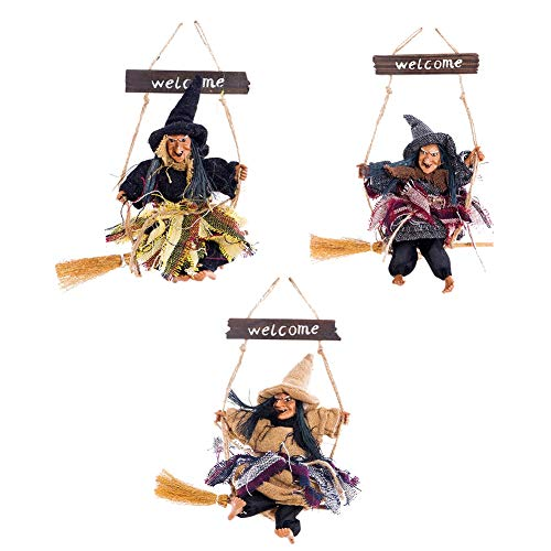 Heliovia House Night Decoration Horror Ghost Riding Broom Witch Hanging Decoration Halloween Props Haunted]()