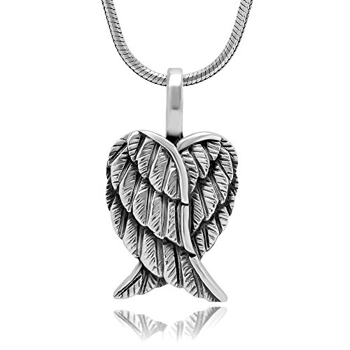 925 Sterling Silver Angel Wings Pendant Necklace, 18 inch Snake Chain -