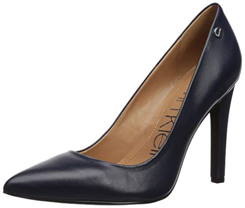 Pump Navy Leather - Calvin Klein Women's Brady Pump, Navy Leather, 9.5 M US