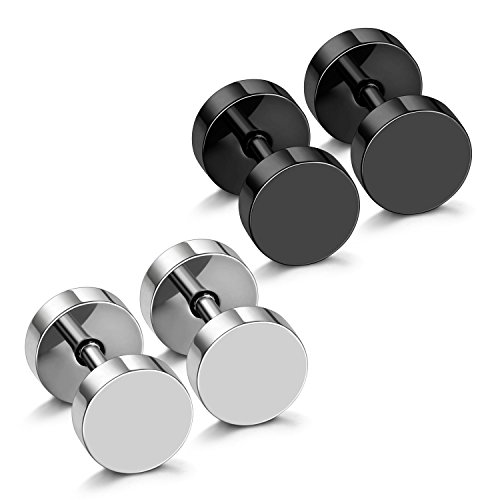 JewelrieShop Black Faux Gauges Plugs Earrings for Men Stainless Steel Dot Disc Studs Circle Flat Back Cheater Tunnel Dumbbell Earrings Women(18 Gauges,2 Pairs,3mm-14mm,Black and Silver)