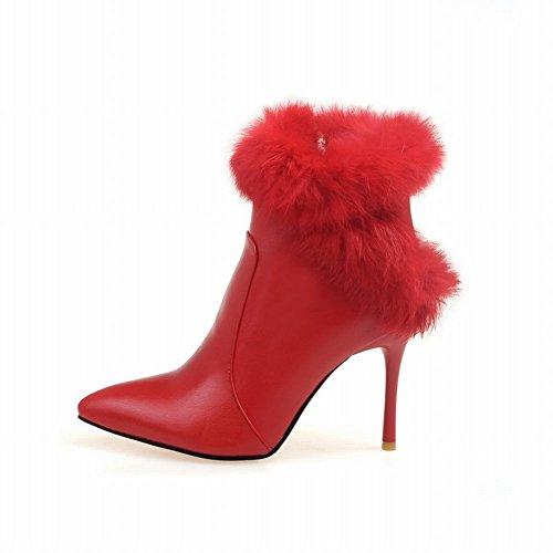 fur Chic Red Sexy Martin Carolbar Women's Fashion Boots Faux High Heel qCp50v