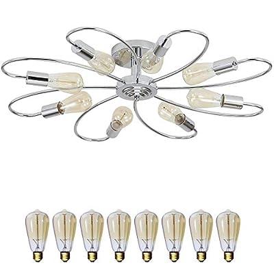 Ceiling Light Fixture, FINXIN Semi Flush Mount Pendant Light, Mid-Century Sputnik Chandelier Light, Starburst Lighting for Bathroom Bedroom Kitchen Bar Hallway and Dining Room