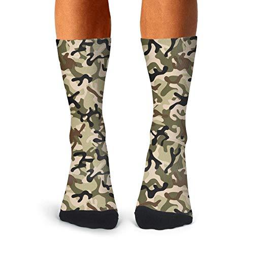 Floowyerion Men's digital woodland camo Novelty High Sports Socks Crazy Funny Crew Tube Socks