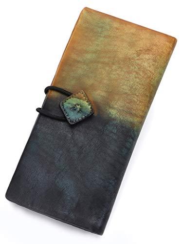 (Genuine Leather Wallet for Women long Purse Slim Clutch vintage cowhide handmade Cash Card Holder Organizer (Brown))