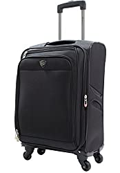 "Travelers Club 20"" ""The Merit"" Expandable Rolling Carry-on Luggage With Premium Features & Upgrades, Black"
