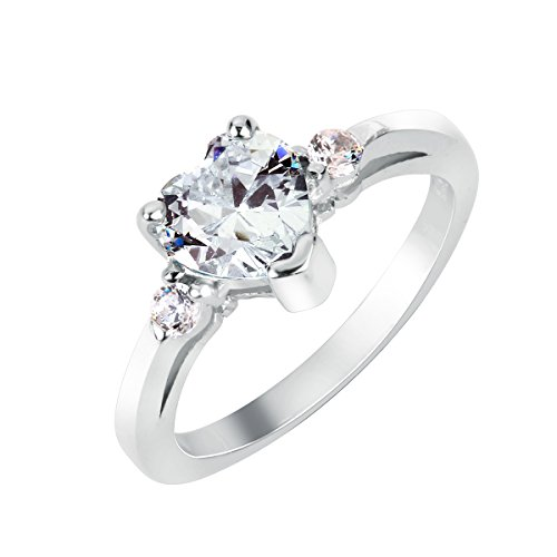 (CloseoutWarehouse Cubic Zirconia Clear Heart Promise Ring Sterling Silver Size 4)