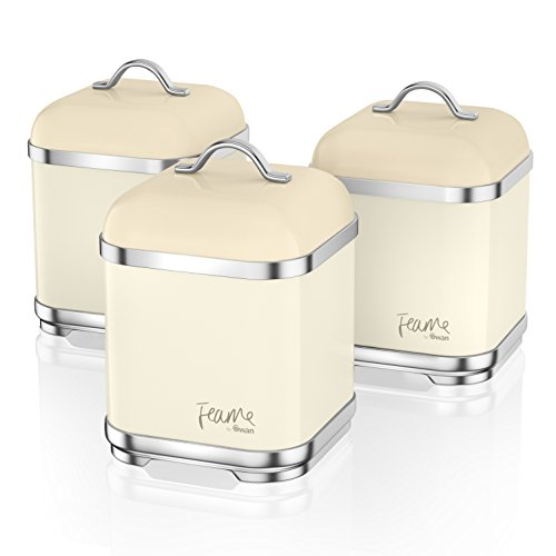 Swan Fearne Kitchen Storage Canisters, Iron, Honey, Set of 3