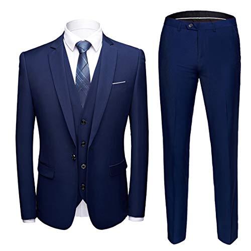 (MY'S Men's Suit Slim Fit One Button 3-Piece Suit Blazer Dress Business Wedding Party Jacket Vest & Pants Deep Blue,XL, 5'9-6'3, 190-200lbs)
