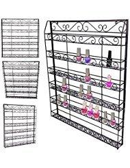 (Professional Wall Mount Nail Polish Rack, 6 Tiers Salon Nail Polish Shelf Display Wire Metal Organizer Wall Rack Holds up to 120 Bottles (US STOCK))