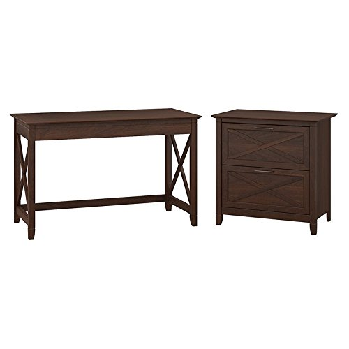 Bush Furniture Key West 48W Writing Desk with 2 Drawer Lateral File Cabinet in Bing Cherry