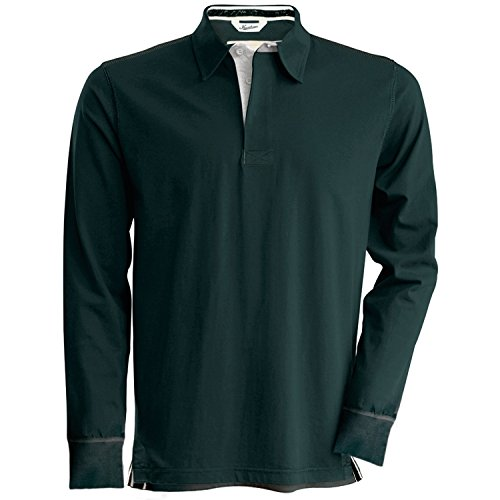 Kariban Vintage Mens Plain Long Sleeve Rugby Shirt (L) (Vintage Charcoal)