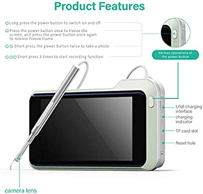 Ear Endoscope Ear Earmuff Ear Speculum 5.5mm HD Camera Ear Canal Cleaning 3 in 1 Interface for Personal Care Color : Black