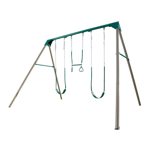 - Lifetime 290038 Heavy Duty A-Frame Metal Swing Set, Earthtone
